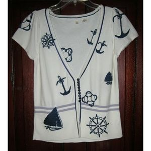 Moth Anthropologie M Cardigan Sweater Nautical Top